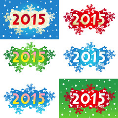 Year 2015 decorated headings or banners
