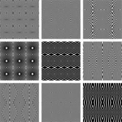 Seamless geometric textures set.