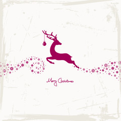 Reindeer, Christmas Ball & Stars Purple Grunge Paper