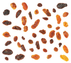 Set of multiple dried fruits raisins isolated