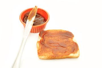 Organic Apple Butter Spread on a Slice of Bread