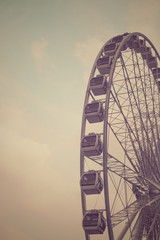 Ferris Wheel Silhouette vintage tone background