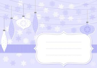 bombki i gwiazdki niebieska pozioma kartka świąteczna z ramką