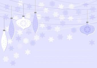 bombki i gwiazdki niebieska pozioma kartka świąteczna