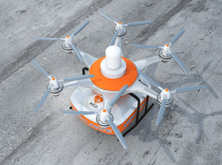 Drone carrying AED kit for emergency medical care concept
