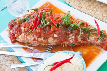 poisson à la sauce piquante