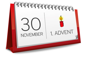 Kalender rot 30 November 1. Advent 2014