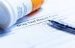Leinwandbild Motiv Drug test blank form