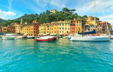 Portofino panorama,and colorful houses,Liguria,Italy