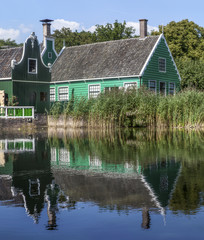 Traditional Green Houses and Water Reflection, The Netherlands