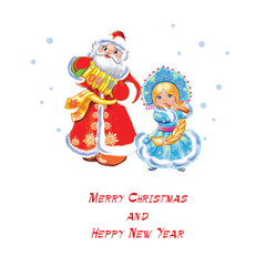 Santa Claus and snow maiden on white background