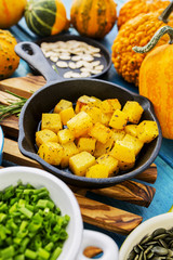 Autumn fruits and vegetables - fried pumpkin