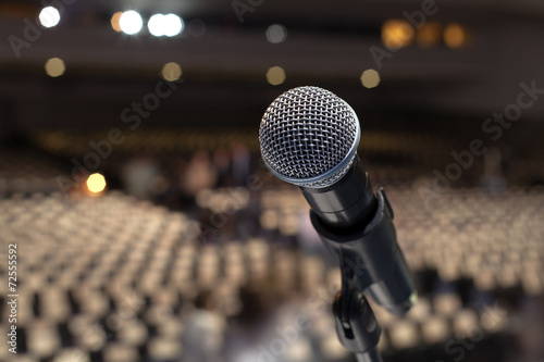 canvas print picture microphone on the stage and empty hall during the rehearsal