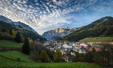 Landscape with mountains and Eisenerz city in Styria,Austria.