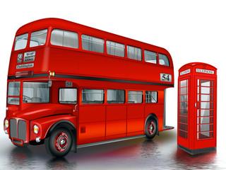 britischer Doppeldeckerbus mit roter Telefonzelle