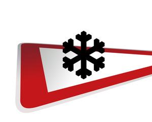 Verkehrsschild Achtung Schneetreiben