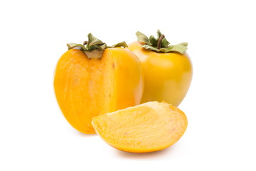 Two Persimmon On White Background