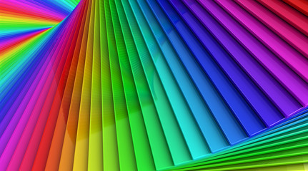 Colorful rainbow sprial abstract background of stacked glass pla