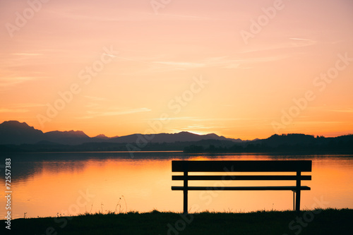 canvas print picture Sonnenuntergang Wallersee