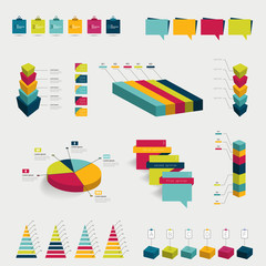 Collection of colorful flat infographic elements.