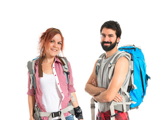 Backpacker making a deal over isolated white background