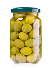 jar of preserved green olives