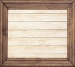 Square wooden frame on wood background