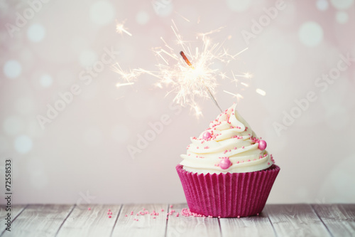 Pink cupcake with sparkler - 72558533