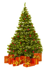 Christmas tree and red present gift box, white background