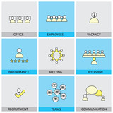 Office people vector line flat design icons - appraisal, recruit poster