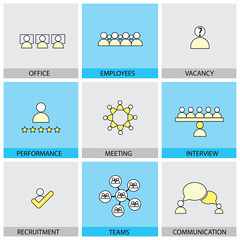 Office people vector line flat design icons - appraisal, recruit