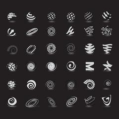 Sphere Icons Set - Isolated On Black Background
