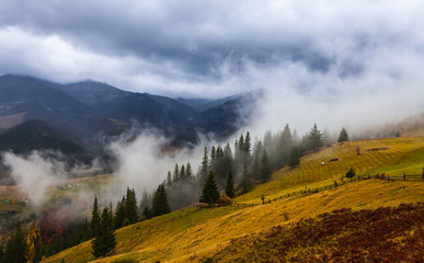 global warming. mountain landscape. Clouds and fog © DmytroKos
