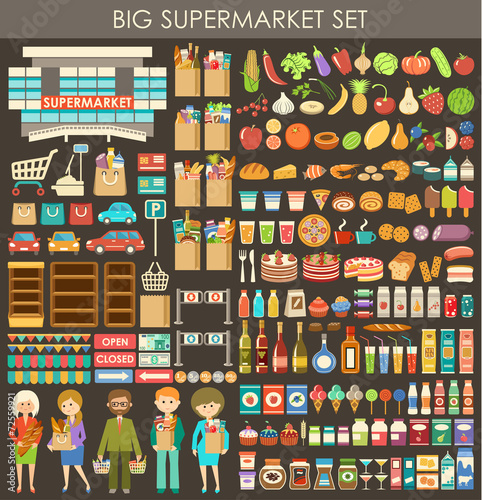 Big supermarket set. vector - 72559921