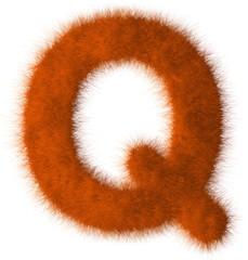 Orange shag Q letter isolated on white background
