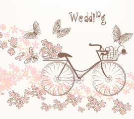 Illustration with art bicycle and flowers in vintage style