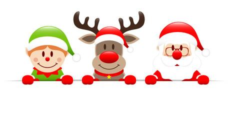 Elf, Rudolph & Santa Banner