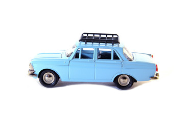 """Collectible toy model blue Soviet car """"Moskvitch"""""""