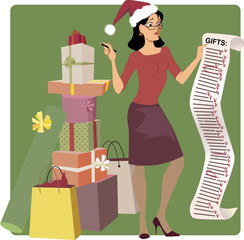 Stressed woman doing holiday shopping