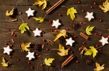 Foglie e biscotti natalizi, texture