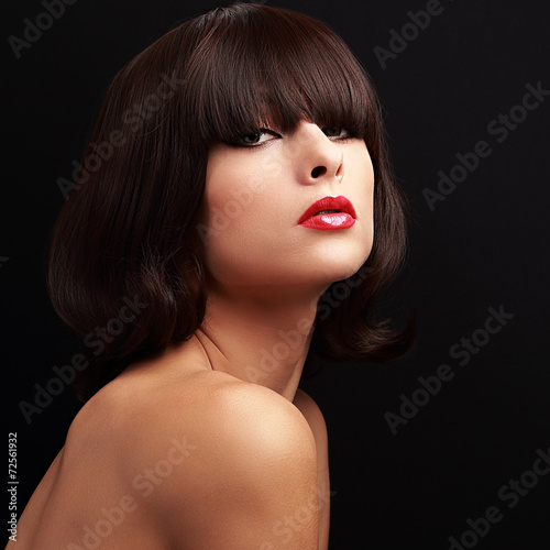 canvas print picture Beautiful calm makeup woman with bright red lips looking