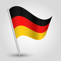 vector 3d waving german  flag on pole symbol of Germany