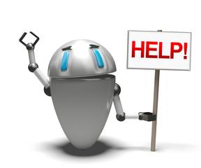 Robot con cartello help