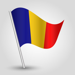 vector 3d waving romanian flag on pole symbol of Romania