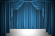 Open blue theater curtain, background