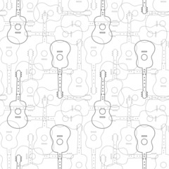 Music seamless pattern with guitars vector illustration