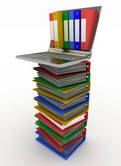 Abstract image of computer and folders for documents