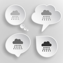Rain. White flat vector buttons on gray background.