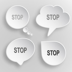 Stop. White flat vector buttons on gray background.