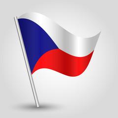 vector 3d waving czech flag on pole - symbol of Czech Republic